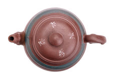 Chinese ceramic handmade teapot top view Stock Image