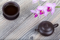 Chinese ceramic tea set on table Stock Photography