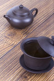 Chinese ceramic tea set on table Royalty Free Stock Photography