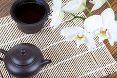 Chinese ceramic tea set on wooden table Royalty Free Stock Photos