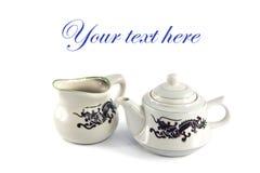 Chinese ceramic teakettle and mug Stock Image