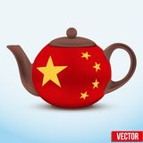 Chinese ceramic teapot. Vector illustration. Royalty Free Stock Image