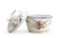 Chinese ceramics. Chinese Bowl-pot, where the tops are bowls and the bottoms are pots Royalty Free Stock Photos