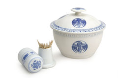 Chinese ceramics. China ware serving pot with lid and toothpick holder Stock Photo