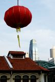 Chinese Ceremonial Lantern. A Chinese Ceremonial lantern with Singapore city in the background at Chinese New Year Celebrations Royalty Free Stock Image
