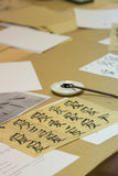 Chinese character calligraphy. Sheet with Chinese character calligraphy on tabletop Stock Images