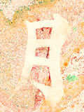 Chinese Character Moon marble background orange. Chinese Character Moon ink on hand made watercolor background. Marble effect painting. Unusual handmade Royalty Free Stock Photo