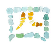 Chinese character si - four. Sea glass mosaic stock photo