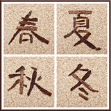 Chinese characters for all seasons Royalty Free Stock Images