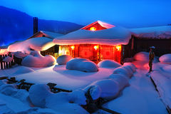 Chinese characteristic farmhouse snowscape Royalty Free Stock Photography
