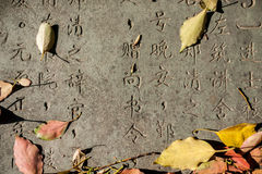 Chinese Characters carved in a stone Stock Image