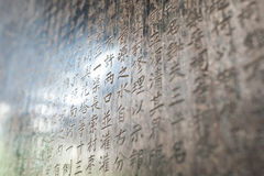 Chinese Characters carved in a stone Royalty Free Stock Photography
