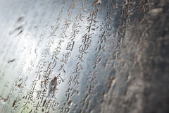 Chinese Characters carved in a stone Royalty Free Stock Image