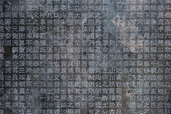 Chinese Characters carved in a stone Stock Photo