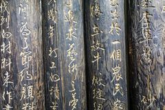 Chinese characters carved on wood Stock Photography