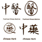 Chinese characters of Troditional Chinese Medicine. Illustration of Chinese calligraphy of Troditional Chinese Medicine and Chinese herb Royalty Free Stock Photography