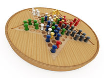 Chinese checkers board and pawns isolated on white background. 3D illustration Stock Photography