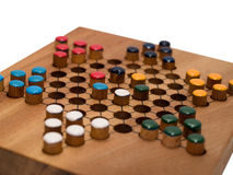 Chinese checkers game on wooden board royalty free stock image