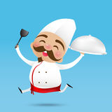 002 Chinese chef cartoon holding the Turner and served the food. Chinese chef cartoon holding the Turner and served the food with happy smile vector illustration Stock Images