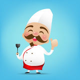 003 Chinese chef cartoon holding the Turner and thumb up with ha. Ppy smile vector illustration eps10 stock illustration