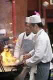 Chinese chef-koks bij de Chinese vieringen van het Nieuwjaar Stock Afbeeldingen