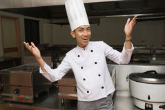 Chinese chef in restaurant kitchen stock photo