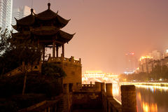 The Chinese Chengdu, Hejiangting night view Stock Images