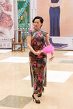 Chinese cheongsam Fan Dance. stock photos