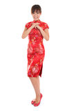 Chinese cheongsam female greeting Royalty Free Stock Image