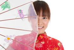 Chinese cheongsam girl with umbrella Royalty Free Stock Photography