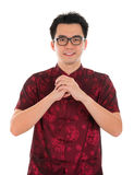 Chinese cheongsam male blessing Royalty Free Stock Photography