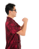 Chinese cheongsam male respecting Royalty Free Stock Photography