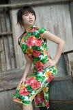 Chinese cheongsam model. A chinese model in traditional cheongsam wear Stock Photo