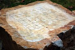 Chinese chess. This is a old chinese chess table made by stone Stock Photography