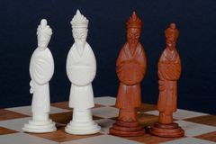 Chinese Chess Set Royalty. Hand carved Chinese chess set Stock Image