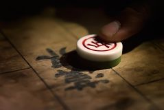 Chinese chess with weak light. In the night Royalty Free Stock Images