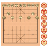 Chinese Chess, Xiangqi. From top view with simple artwork that represent each unit Royalty Free Stock Photography
