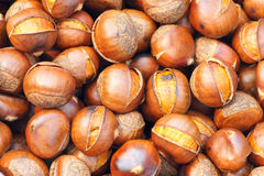 Chinese chestnut. The background of fried Chinese chestnut Royalty Free Stock Image