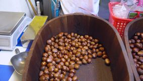 Chinese chestnuts in market stock video