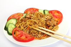 Chinese chicken, chilli and garlic noodles Royalty Free Stock Images