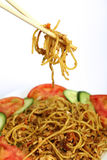 Chinese chicken chilli and garlic noodles Stock Image