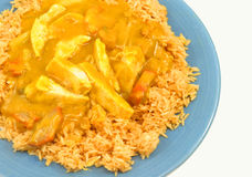 Chinese chicken Curry. A tasty looking chinese chicken curry with rice against white background stock photo