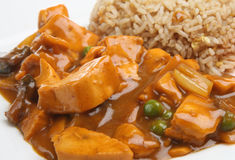 Chinese Chicken Curry & Rice. Chinese chicken curry with egg fried rice Stock Photo