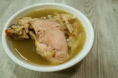 Chinese chicken herbal  soup. Close-up of the Chinese chicken herbal soup stock photography