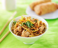 Chinese chicken lo mein in a bowl Stock Photo