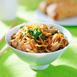Chinese chicken lo mein in a bowl Stock Images