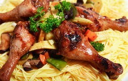 Chinese Chicken Noodle Dinner Royalty Free Stock Images