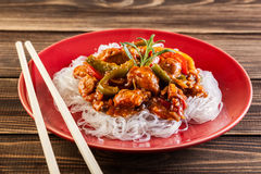 Chinese chicken with rice noodles Royalty Free Stock Images