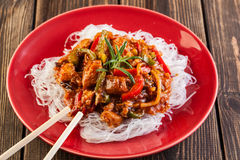 Chinese chicken with rice noodles Royalty Free Stock Photos