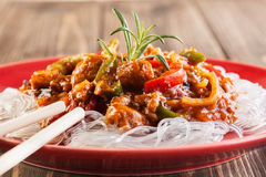 Chinese chicken with rice noodles Stock Image